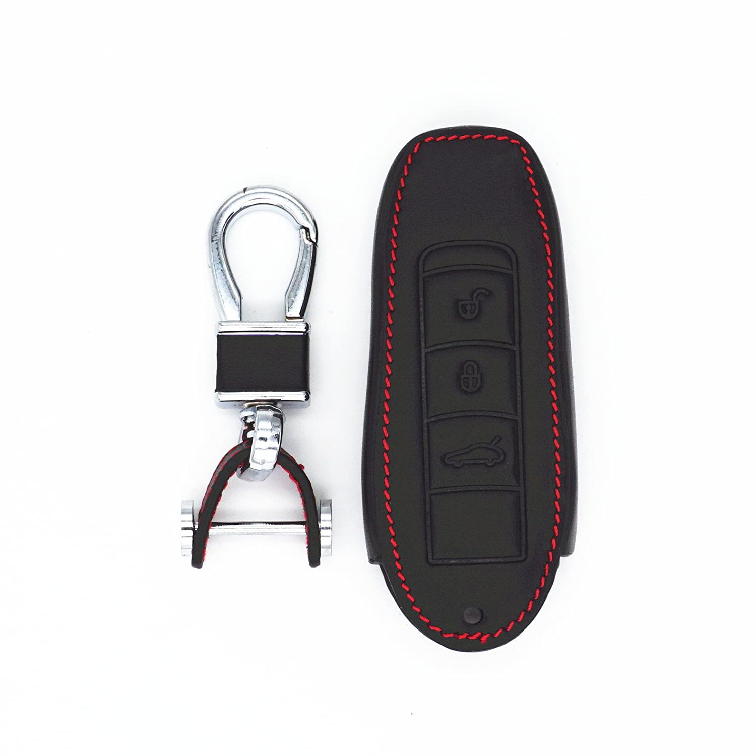 WFMJ New Black Genuine Leather Smart Remote Assesories 3 Buttons Key Chain Holder Cover Case Fob for Porsche Cayenne 92A Panamera 970 Boxster 981 Cayman 981 Carrera 911 991 918 Spyder Macan 95B WFMJ Auto