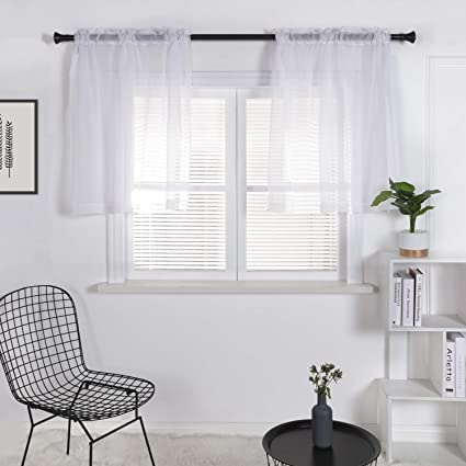 SUO AI TEXTILE Kitchen Window Treatment Voile Valances Small Window Linen  Look Sheer Curtain Tiers For