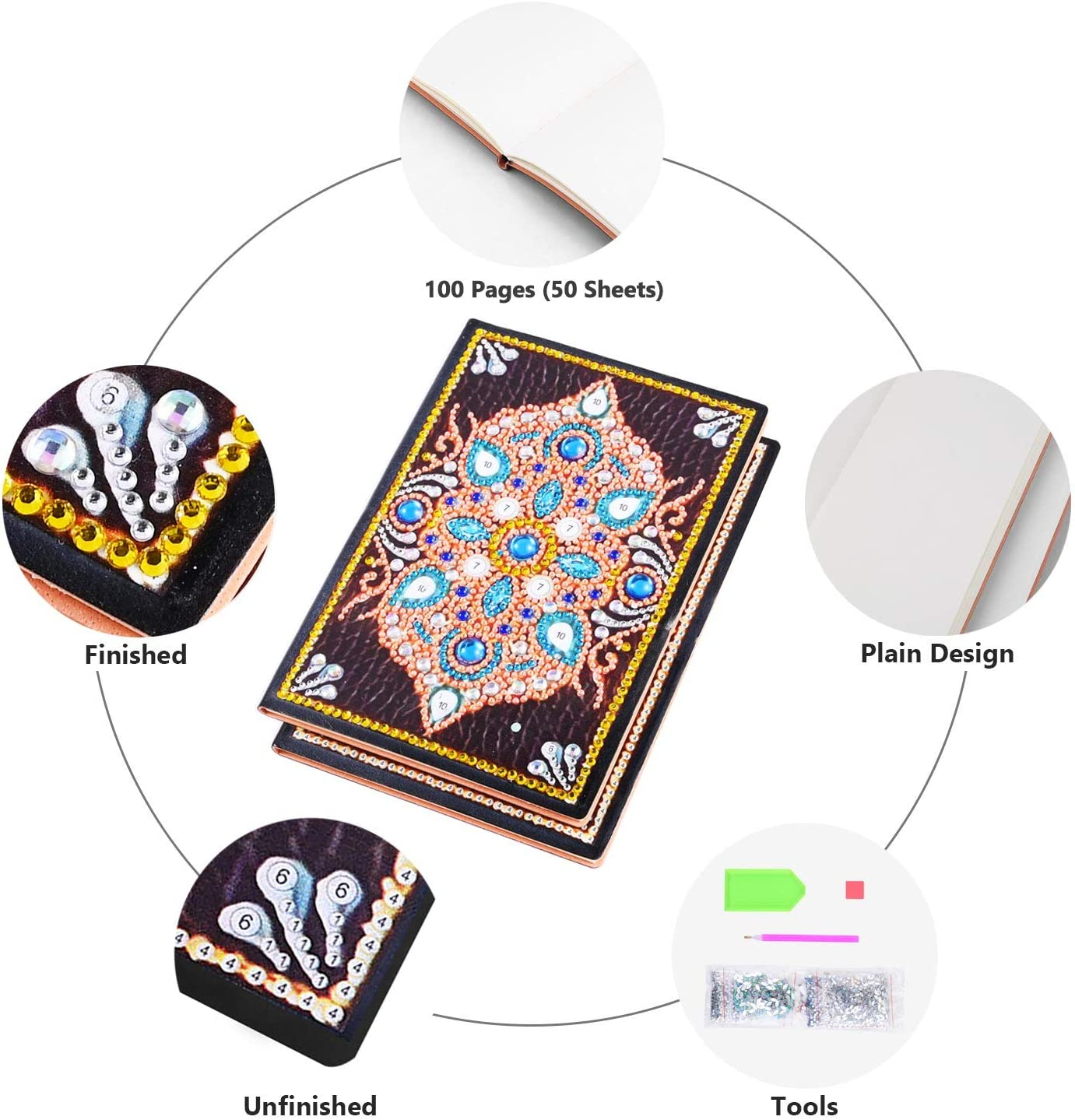 RICUVED DIY 5D Diamond Painting Notebook Cover Kits Special Shaped Pattern Faux Leather Blank Journal Sketchbook Premium Thick Paper A5 Symmetry