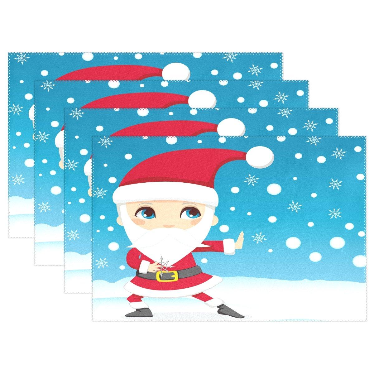 Amazon.com: LAVOVO Santa Claus Ninja Pattern Placemats Plate ...