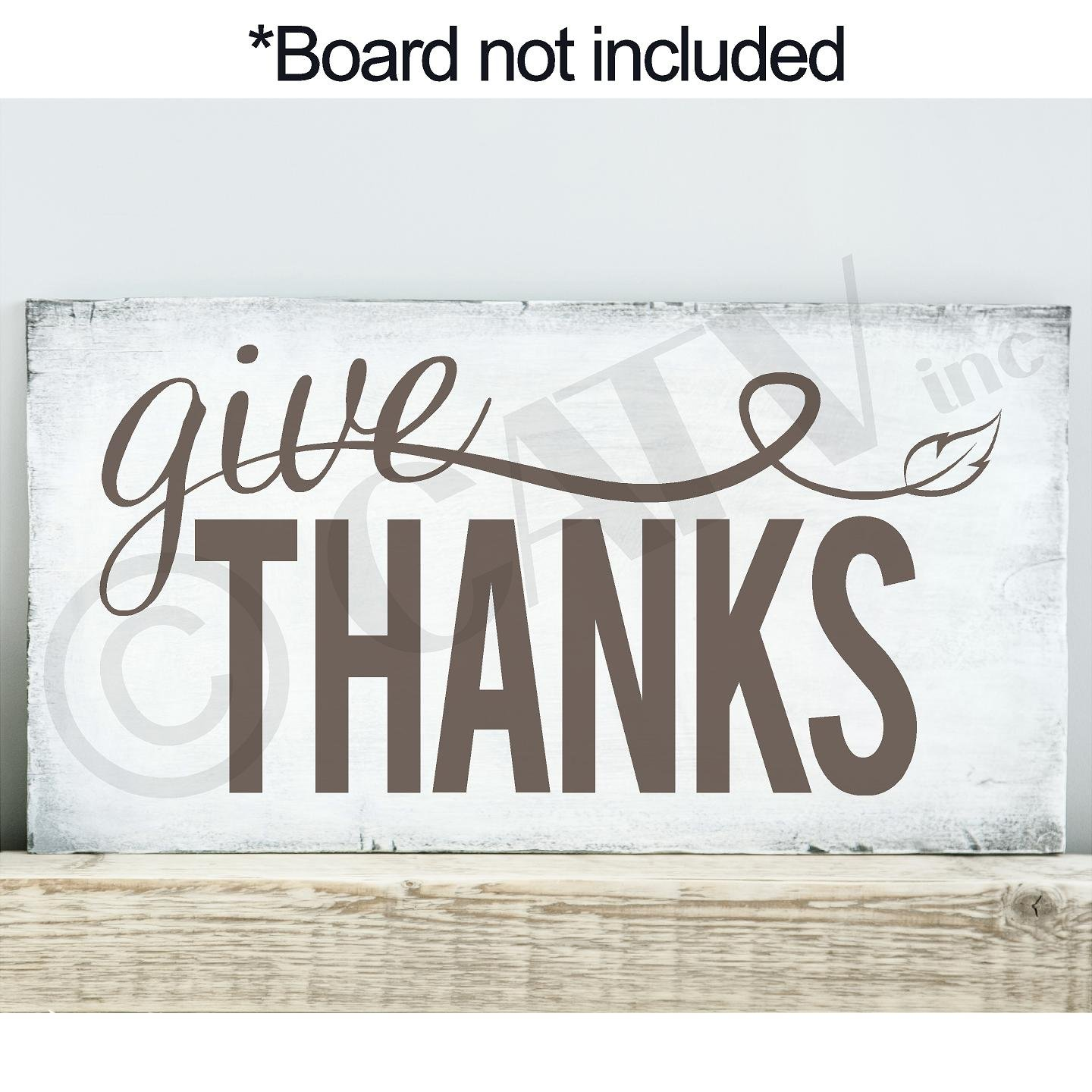 Give Thanks with Leaf Vinyl Lettering Wall Decal Sticker (11'' X 22'', Metallic Bronze)