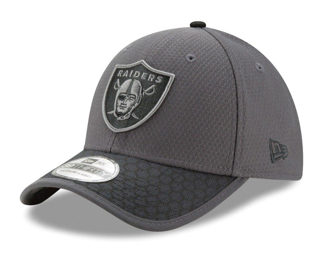 newest b35b6 249a4 Oakland Raiders New Era NFL 39THIRTY 2017 Sideline Graphite Flex Fit Hat