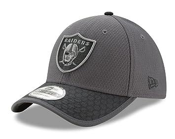 56a3fed4ce6d Oakland Raiders New Era NFL 39THIRTY 2017 Sideline Graphite Flex Fit ...