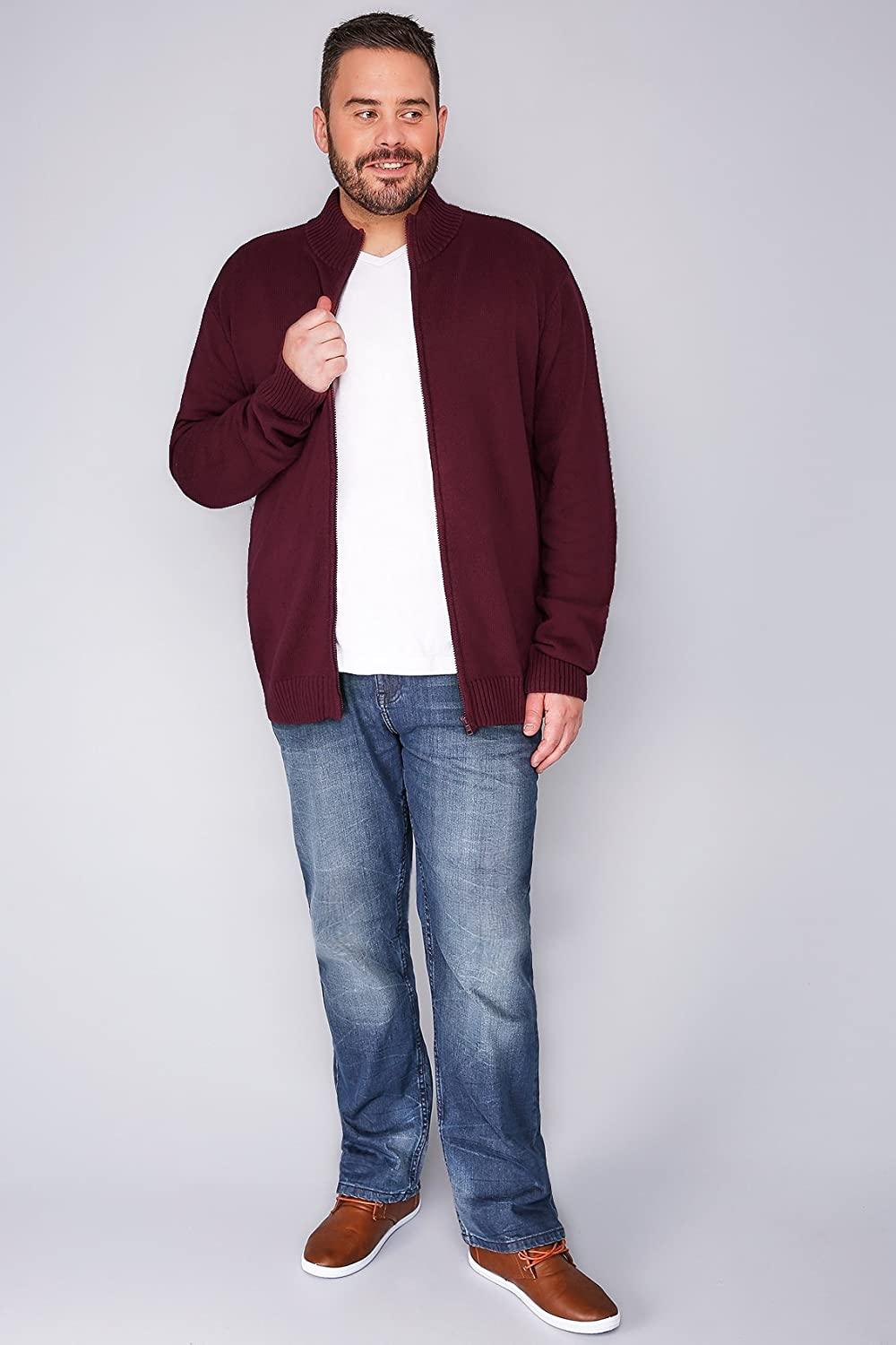 Mens Badrhino Burgundy Knitted Zip Sweater With Funnel Neck - Tall