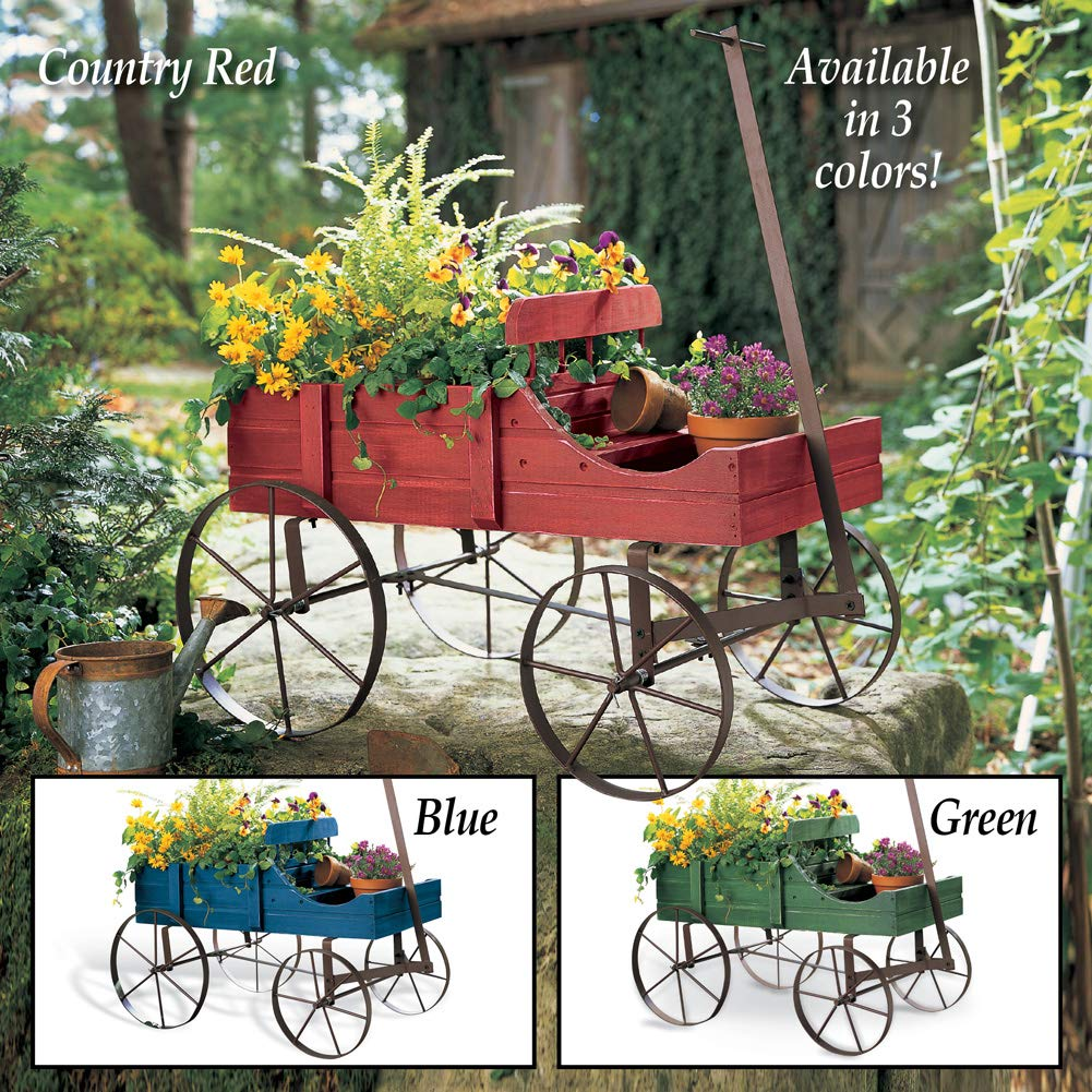 Amish Wagon Decorative Indoor/Outdoor Garden Backyard Planter, Red by Collections Etc (Image #6)