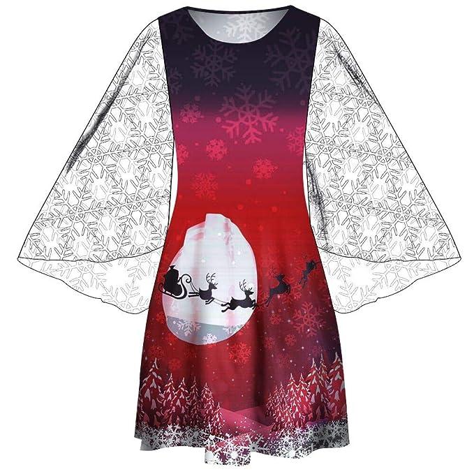 4dd83cae54 LILICAT☃ Dress Vestido de Malla con Estampado de Alces navideño Vestido de  Fiesta de Manga Larga con Estampado de Malla con Estampado de Navidad de  Mujer  ...