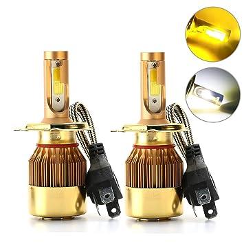 Rcj H4 9003 HB2 Dual Colores LED bombillas para faros delanteros 9600lm alto bajo doble haz ...