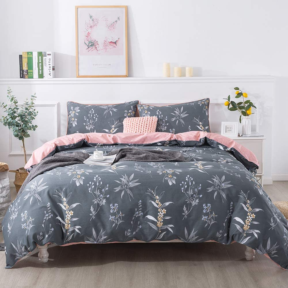 FADFAY Farmhouse Bedding King Size | Premium 100% Cotton 600 TC | Vintage Floral Comforter Set Grey Bedding Shabby Rustic Retro Reversible Zipper Duvet Cover & 2 Pillowcase- No Comforter
