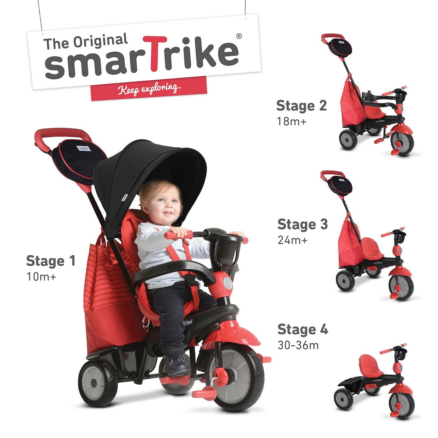 smarTrike Swing 4-in-1 Baby Trike Light-Weight 12 pound With Padded Soft Seat, High Back SUpport, 3 Point Safety Harness, shoulder pads, Cup Holder Storage Bag Canopy in Red