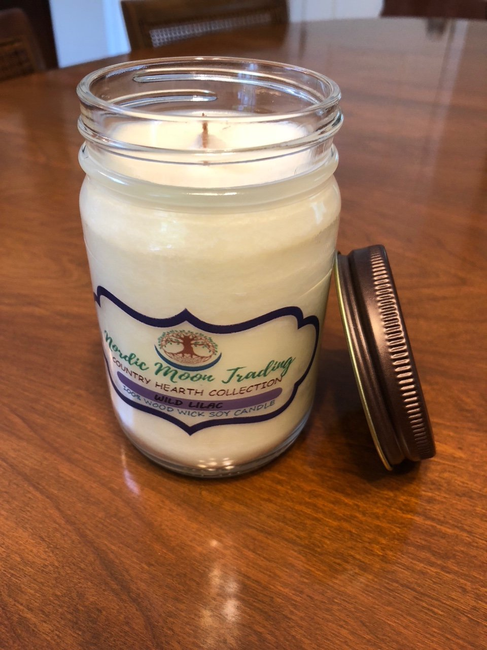 Nordic Moon Trading 100% Natural Soy Wax, Wood Wick Scented Candle 12 oz Mason Jar - Wild Lilac. Made in USA by Family Owned Business. 100 Hours of Burn Time. Clean Burning, No Black Soot. by Nordic Moon Trading (Image #5)