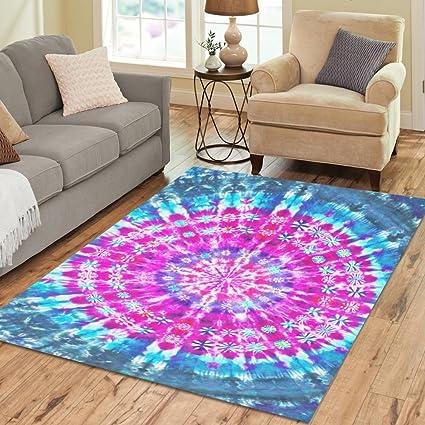 Amazon.com: InterestPrint Trippy Tie Dye Mandala Polyester Area Rug ...
