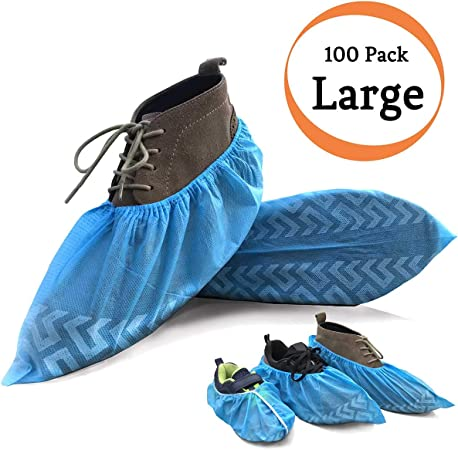Polypropylene Non Skid Blue Shoe Covers Size Ex Large 50 Pair Per Box Excellent