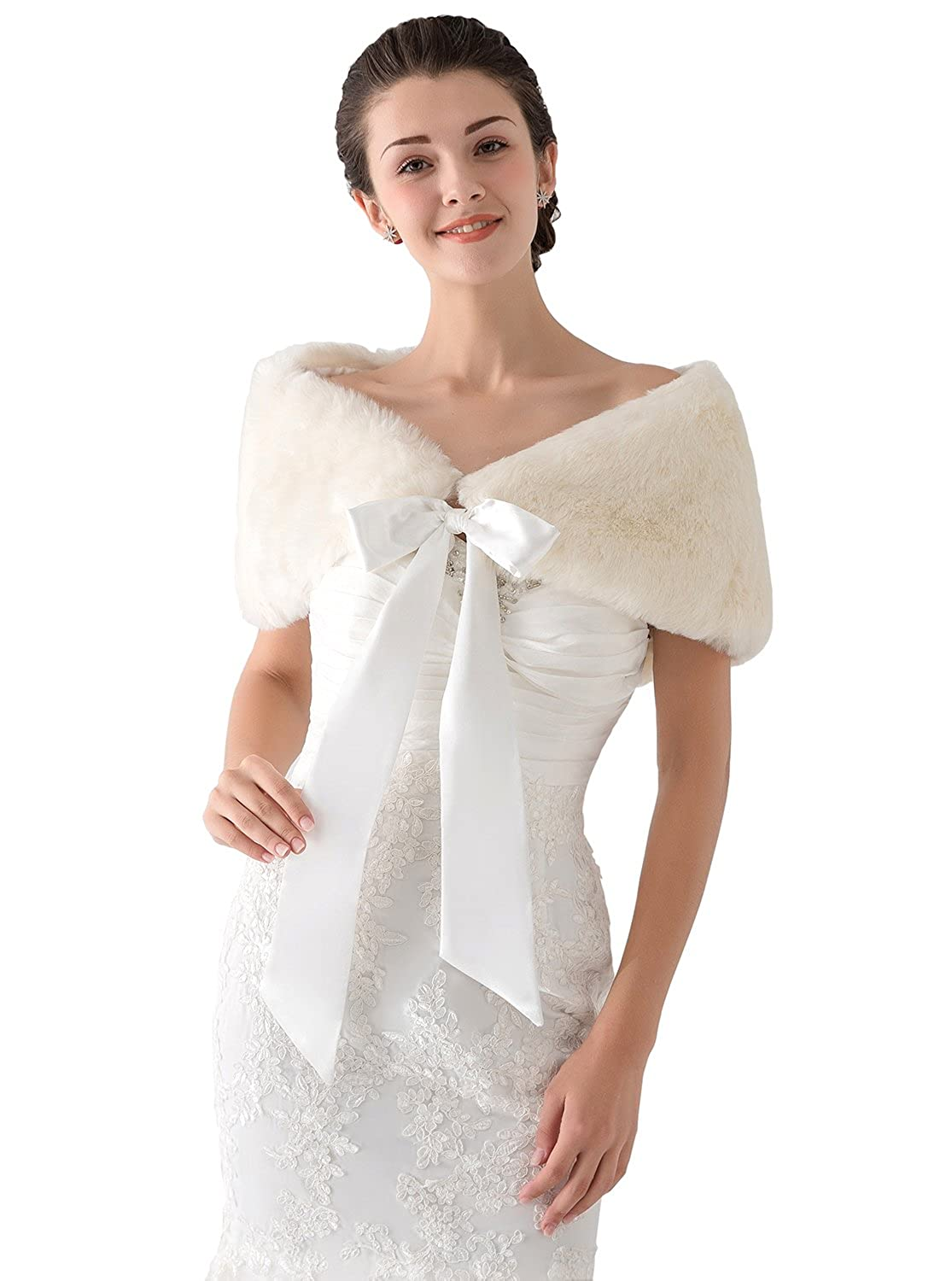 Elliehouse Rabbit Fur White Wrap Jakcet Bolero Shawl For Wedding