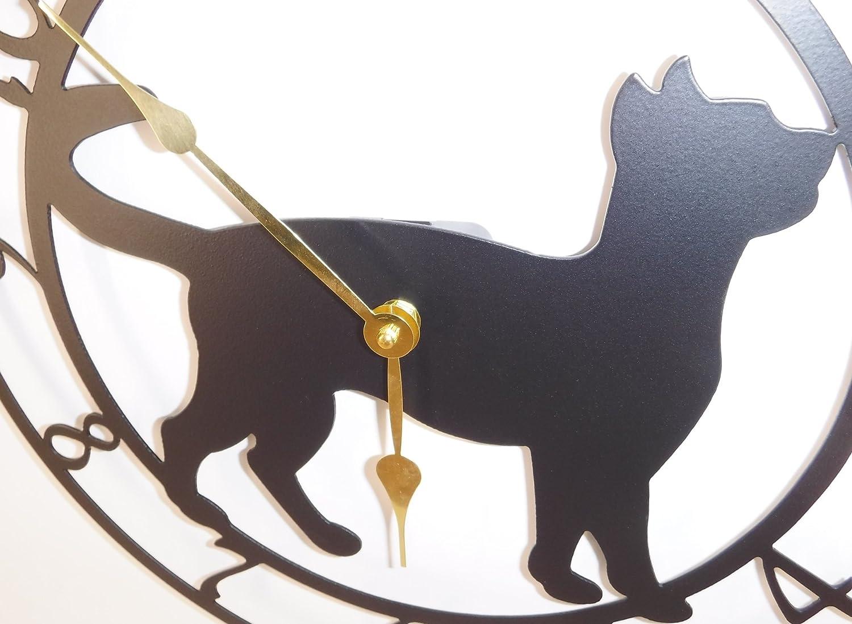 Cat Clock Quartz Movement 15 Inch Wide. Satin Black with Brass Hands Handmade in USA Kitten