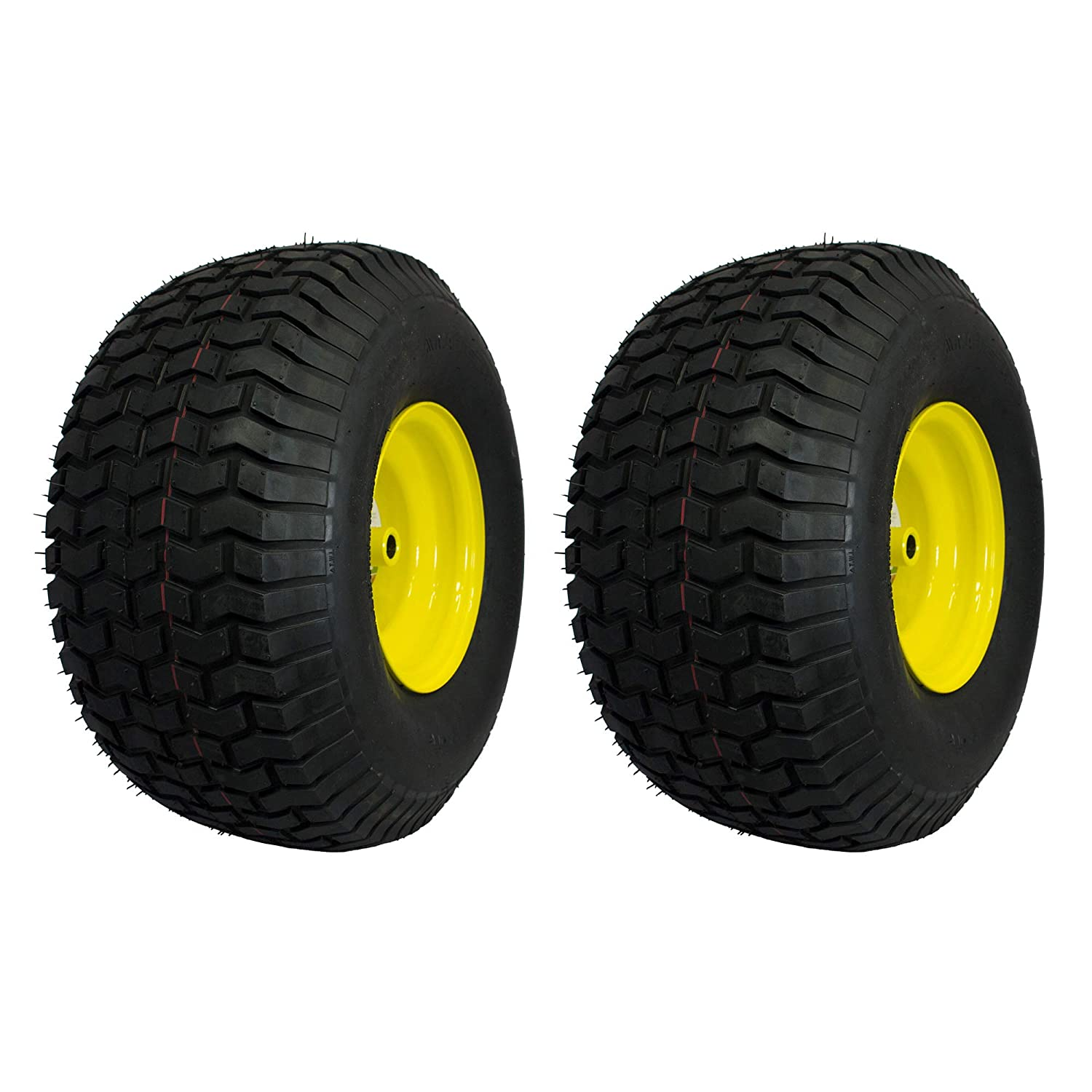 MARASTAR 21424 20X8.00-8 Rear Tire Assembly Replacement for John Deere Riding Mowers, 1 Pack, Yellow