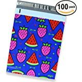 100 Pack of Mighty Gadget (R) Watermelon & Strawberry Designer Poly Mailers - 10x13 inch Shipping Envelopes with 2.35 mil Thickness