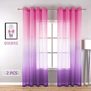 Aurora Sky Themed Ombre Sheer Grommet Curtains Voile Drapes - Purple and Pink Curtains for Girls Room Kids Bedroom Baby Nursery Teen Toddler Little Princess Closet Light Lavender Lilac 2 Window Panels