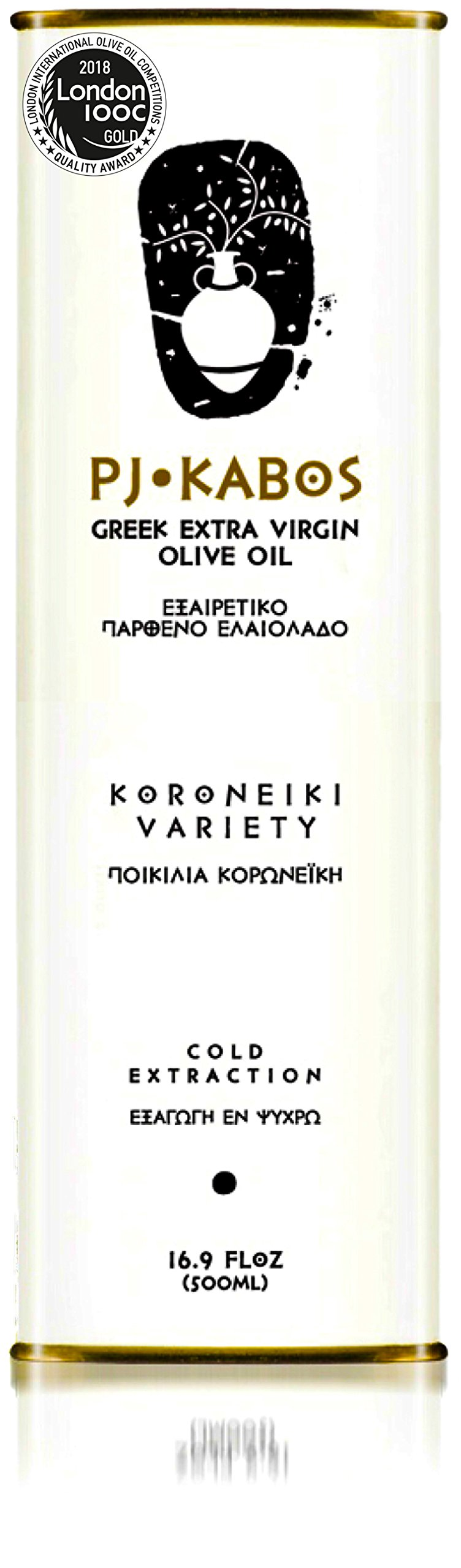 2018 GOLD Medal Winner PJ KABOS 16.9Floz Greek Extra Virgin Olive Oil | 100% FRESH olive oil born in Ancient Olympia vicinity | From Greece | KORONEIKI Variety |