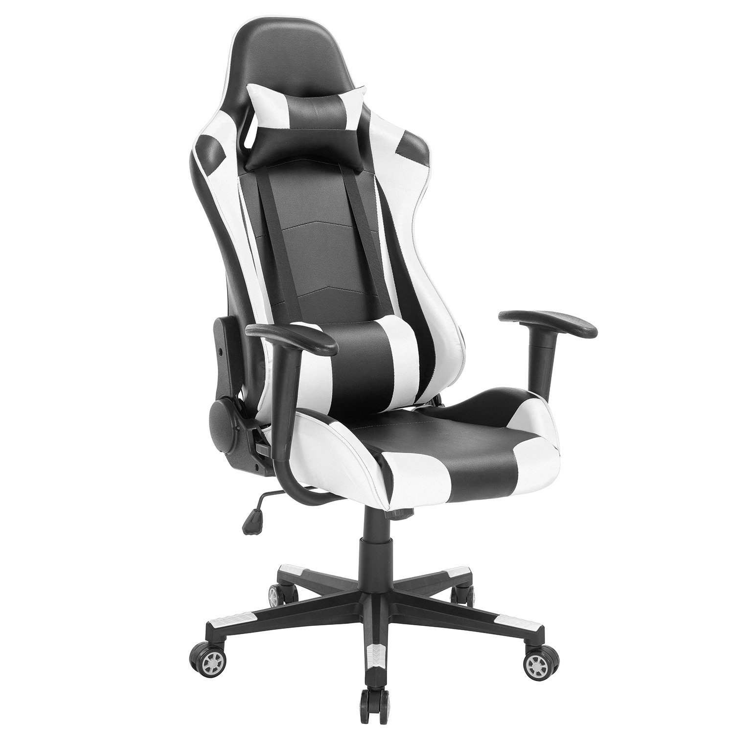 High-Back Swivel Gaming Chair Black White with Lumbar Support Headrest Racing Style Ergonomic Office Desk Chair by Modern-depo