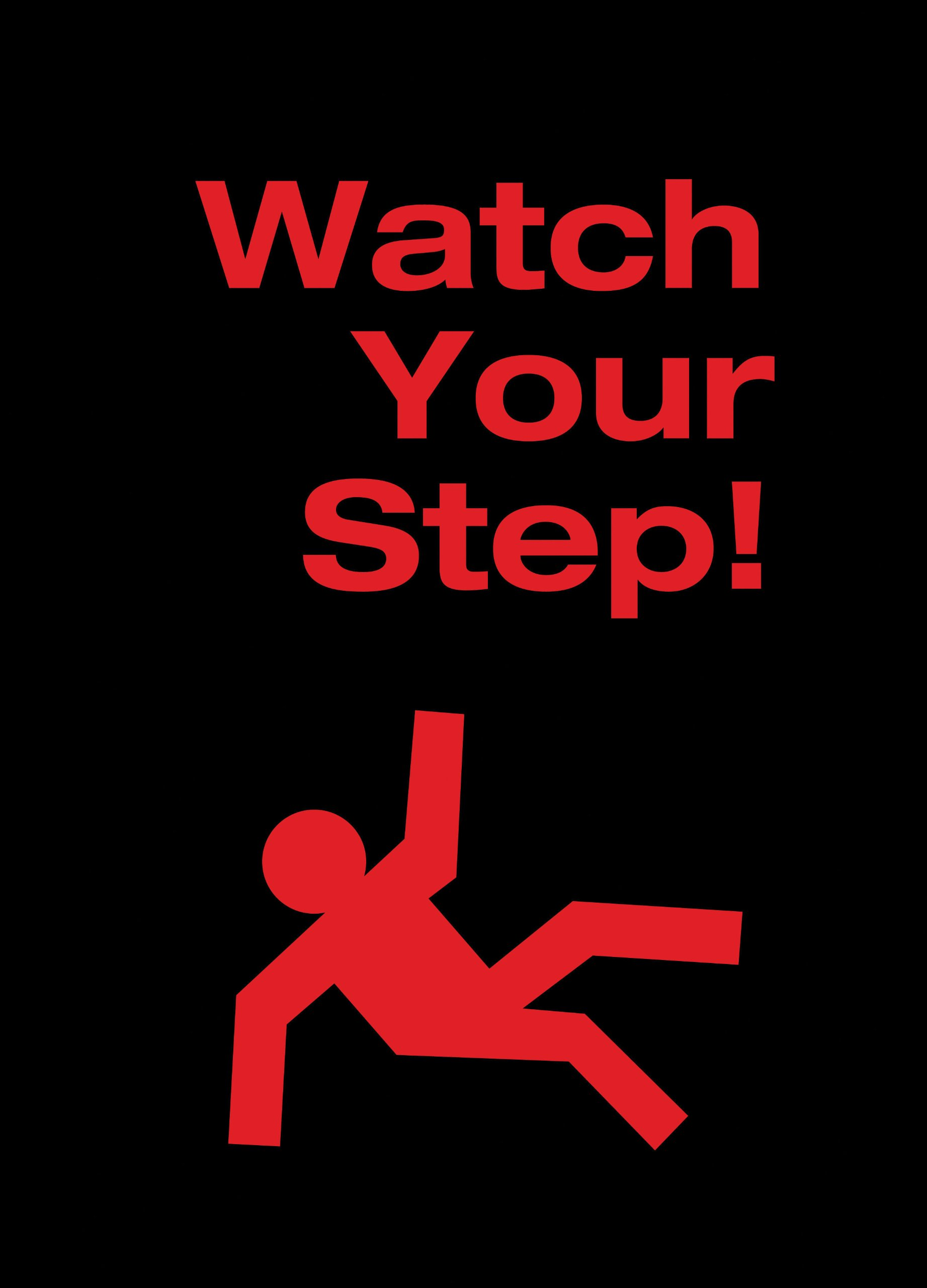 NoTrax 194 Safety Message Floor Mat with Vinyl Backing, ''Watch Yourstep'', 3' Width x 5' Length x 3/8'' Thickness, Black