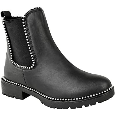 2ac462da887 Heelberry® Womens Ladies Flat Ankle Boots Thick Sole Beaded Studded Worker  Winter Shoe Size