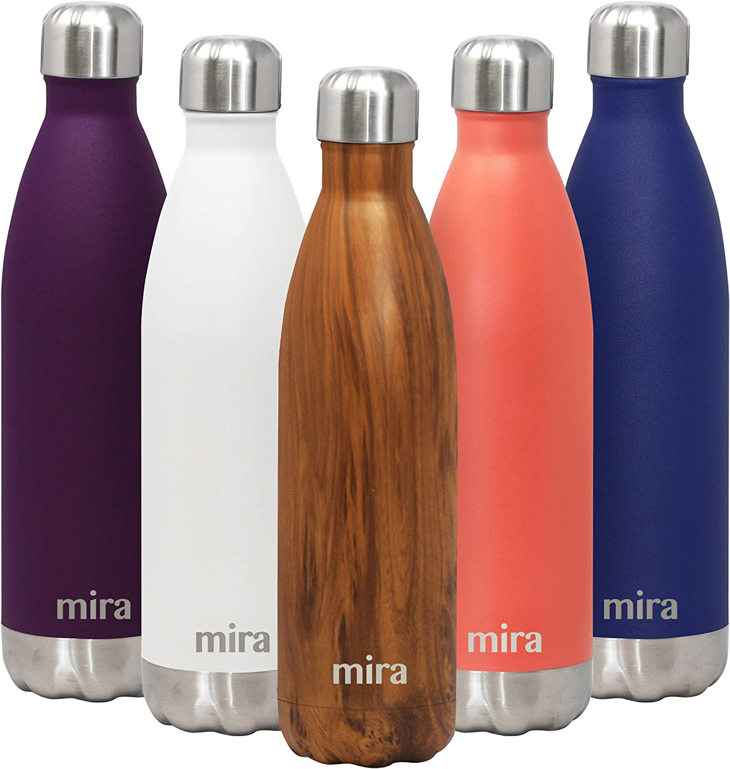 MIRA Stainless Steel Vacuum Insulated Water Bottle   Leak-Proof Double Walled Cola Shape Bottle   Keeps Drinks Cold for 24 Hours & Hot for 12 Hours