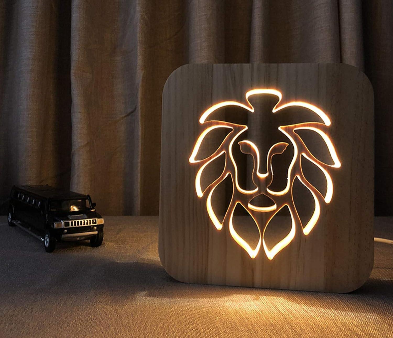 Guo Luz De Noche Luz Cálida Bosque Rey León Madera Hueca Luz De Noche 3D Lámpara De Mesa Con Alimentación USB Regalo De Navidad Año Nuevo