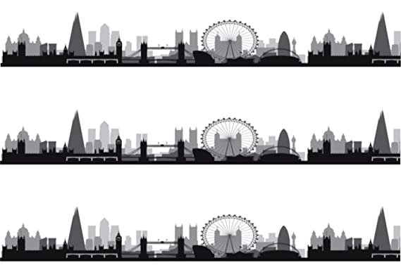 London Skyline Silhouette A4 Edible Icing Cake Side Strips 3 X Pre Cut