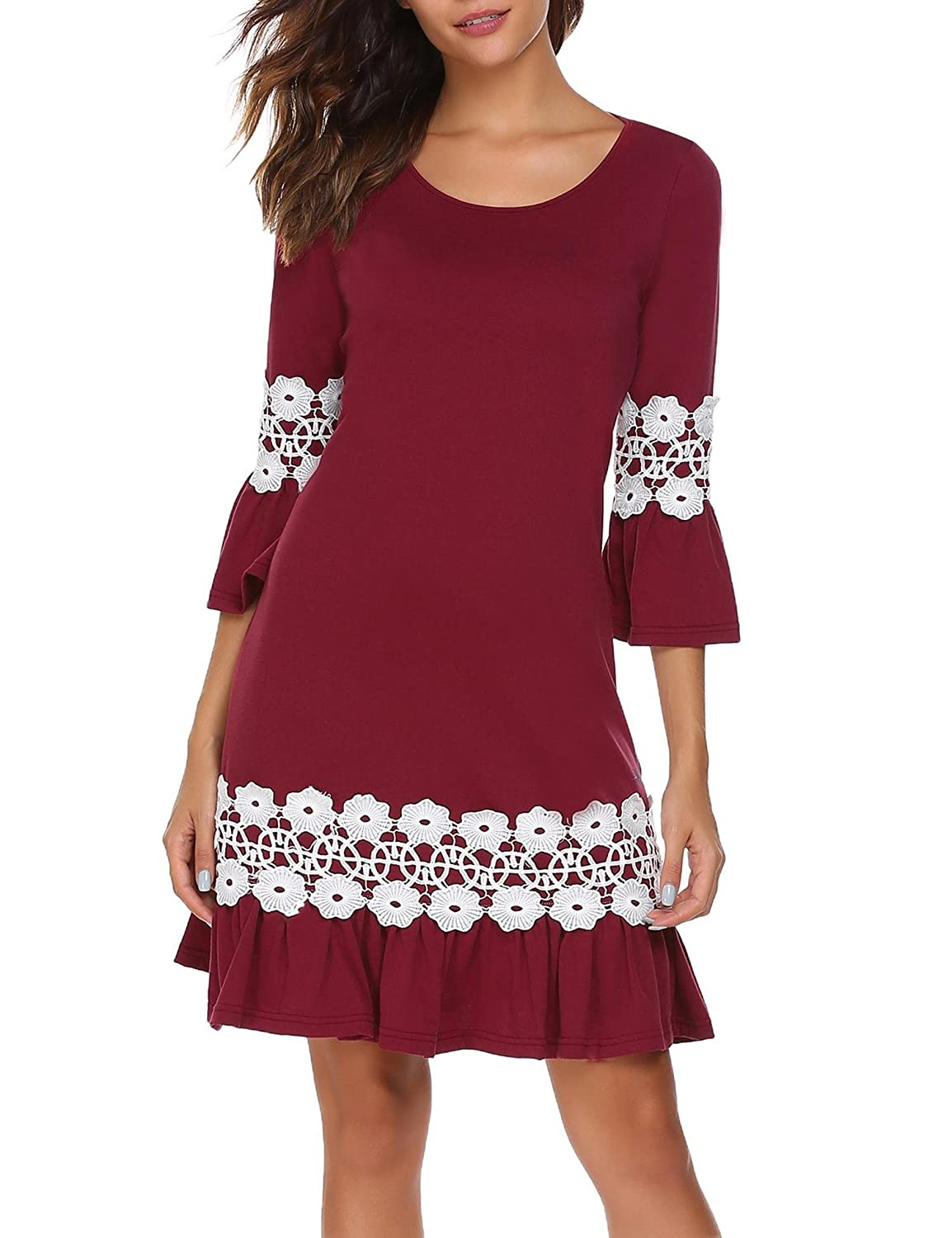 Meaneor Women's 3/4 Sleeve Simple Lace Casual Loose T-Shirt Cocktail Dress MAH017973