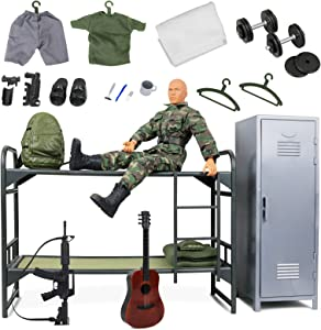 """Click N' Play Military Camp Bunk House Life 12"""" Action Figure Play Set with Accessories, Brown"""