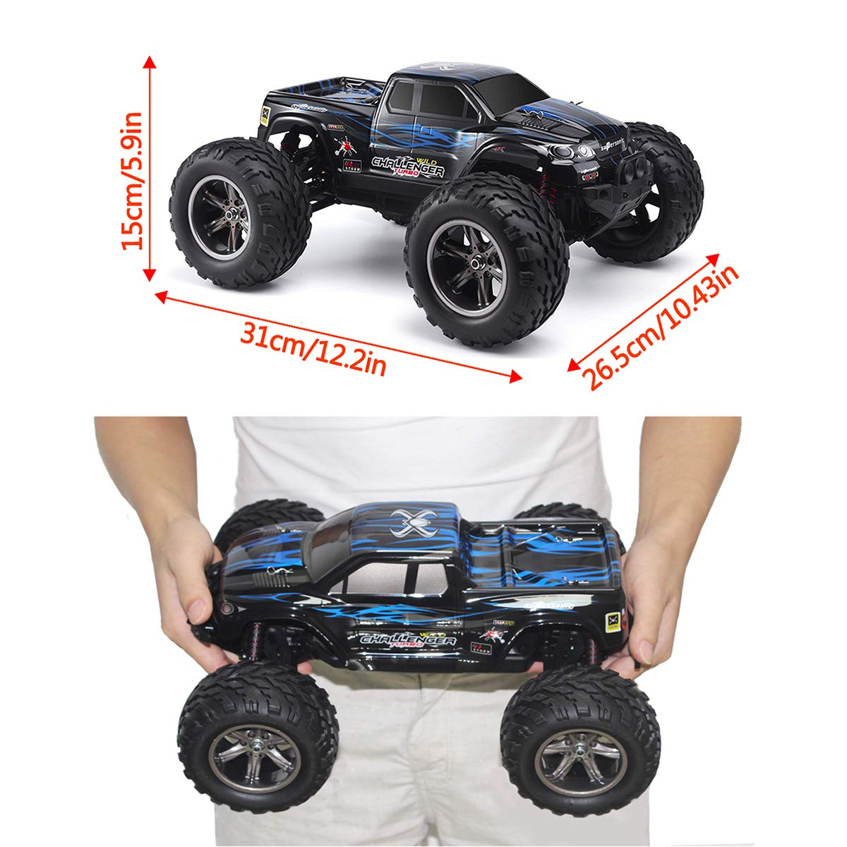 Generic 9112-Blue Offroad 2.4Ghz 2WD Remote Control Truck Best Christmas Gift for Kids and Adults Blue 38km//h 1//12 Scale Radio Controlled Electric Car Hosim All Terrain RC Car 9112