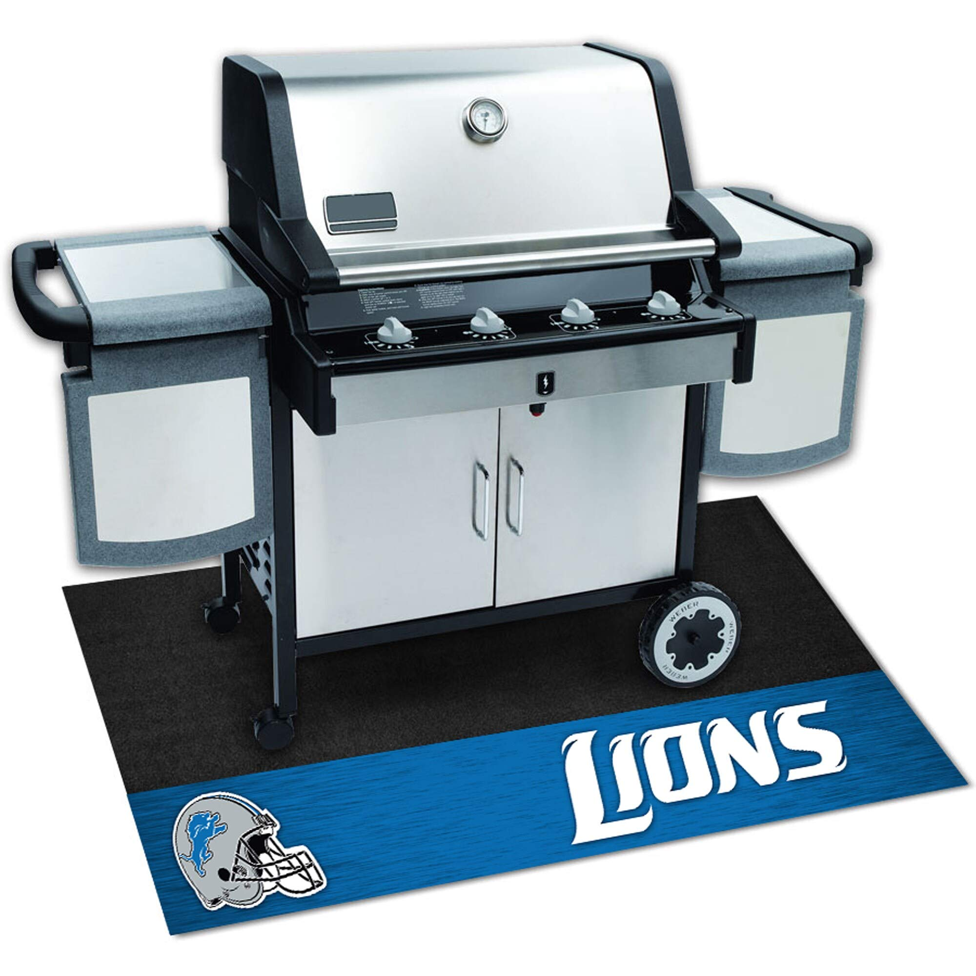 Detroit Lions Black Vinyl Grill Mat by Unknown