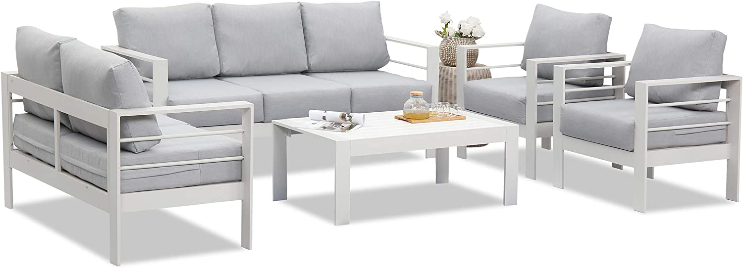 Wisteria Lane Outdoor Patio Furniture Sets, Aluminum Sectional Sofa, White Metal Conversation Set with Grey Cushions