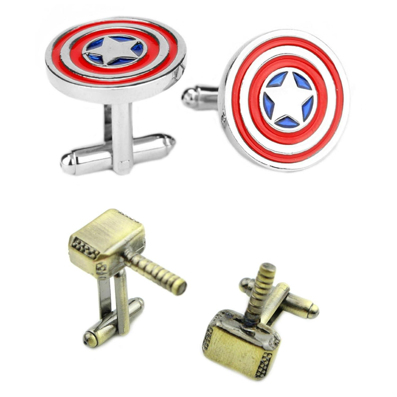Outlander Gear Marvel Comics 2 Pairs Captain America & Thor Bronze 2018 Movie Logos - Wedding Groom Groomsmen Mens Boys Cufflinks