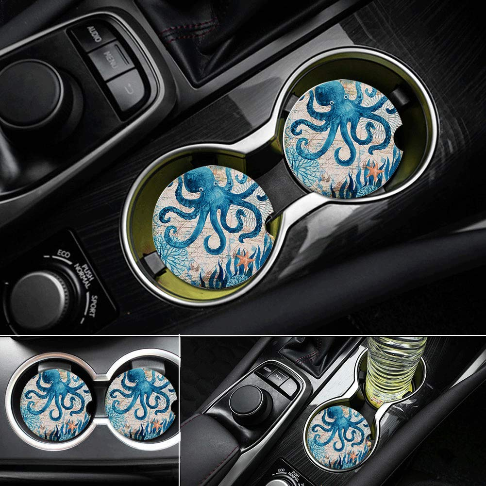 Pack of 2 Car Coasters for Cup Holders Absorbent Auto Ceramic Stone Coaster Set Stoneware Cup Car Holder for Drinks