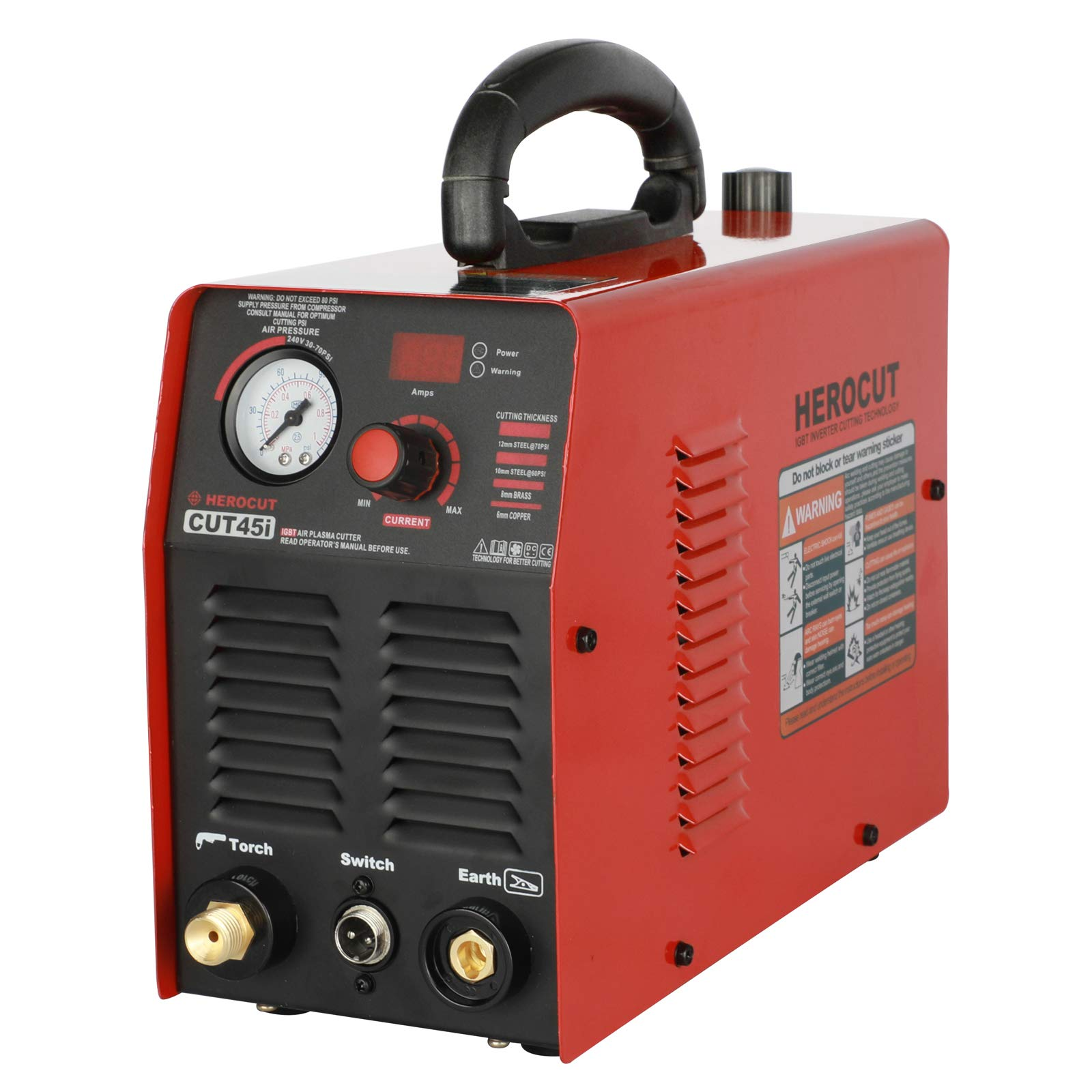 Plasma 110 Voltage CUT45i Inverter Air Plasma Cutter IGBT 10mm Clean Cut In 70psi 14mm Servance Cut (CUT45i 110v) by HEROCUT