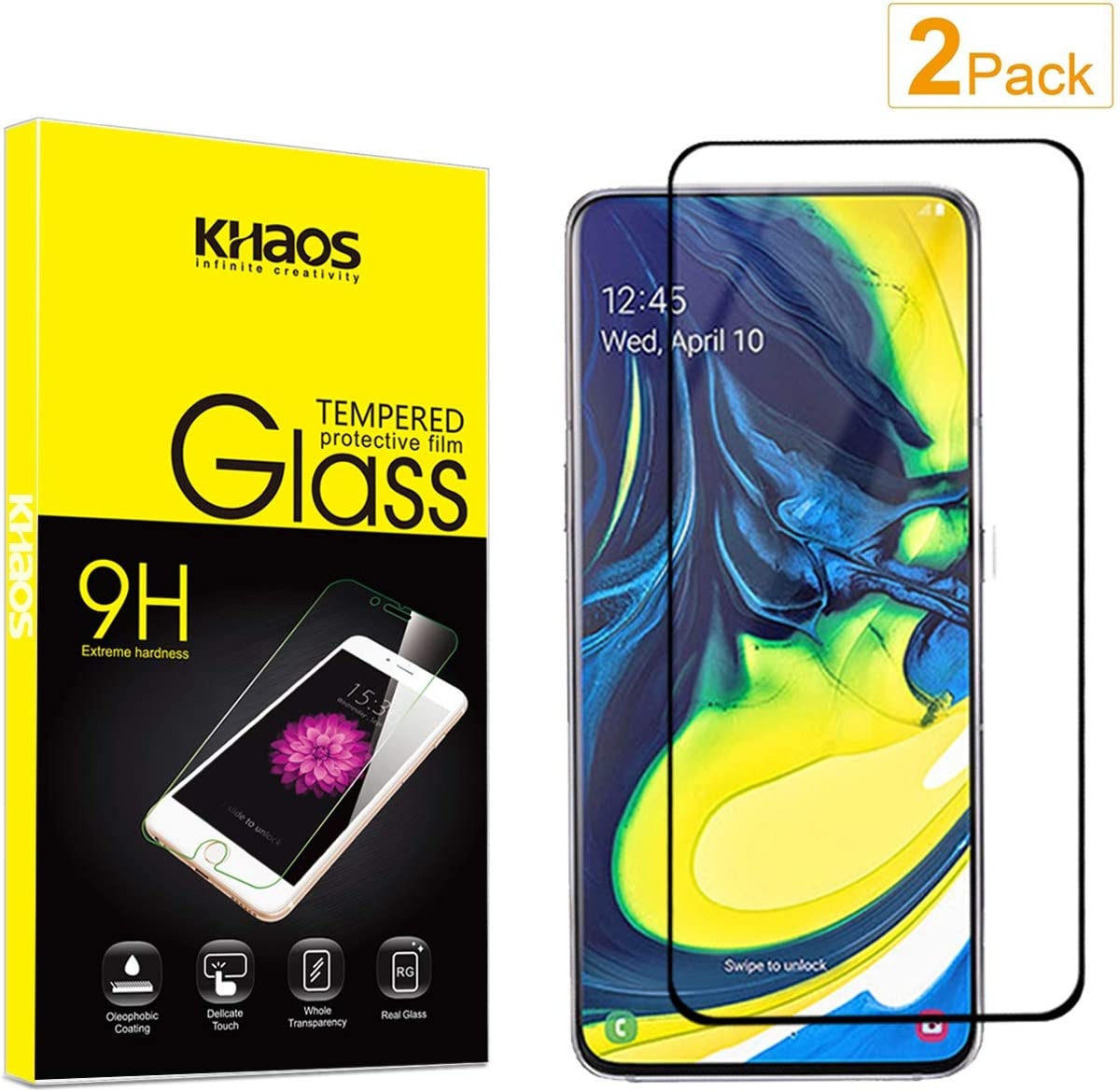 A90 No Retail Package GzPuluz Glass Protector Film 50 PCS Non-Full Matte Frosted Tempered Glass Film for Galaxy A80