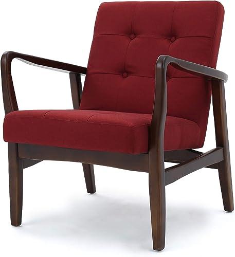 Conrad Deep Red Fabric Mid Century Modern Club Chair