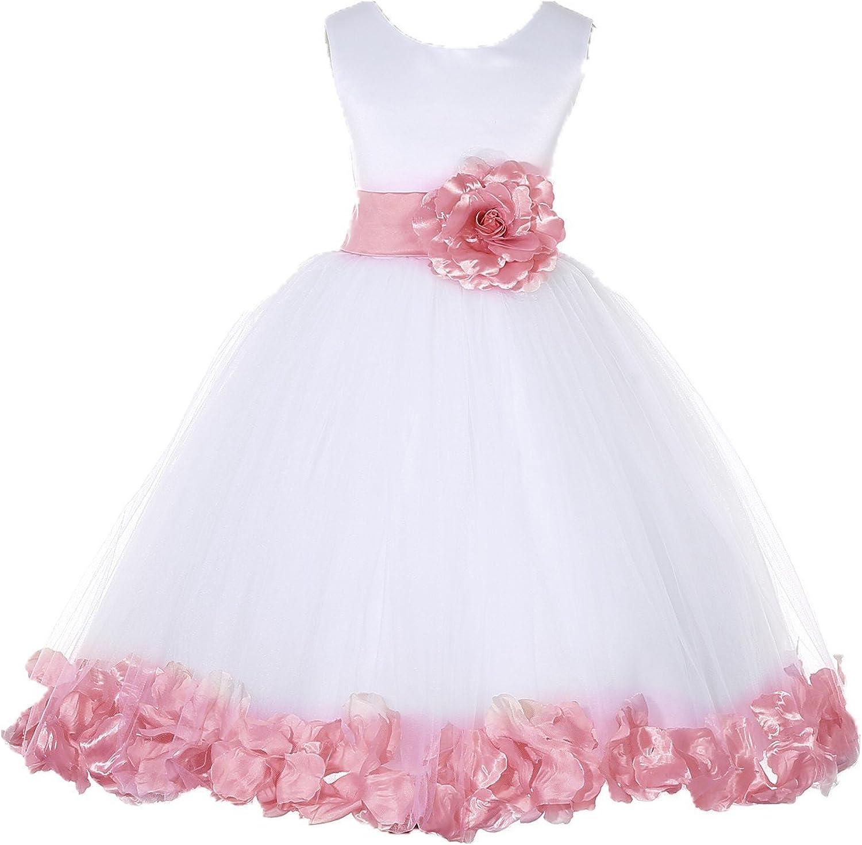 White Tulle Rose Petals Junior Flower Girl Dresses Christening Dresses 302S
