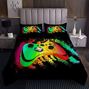 Gamepad Comforter Cover Queen Size Video Games Bedding Set For Kids Teen Boys Novelty Action Buttons Coverlet Set Colourful Game Controller Quilt Gaming Room Decor 3Pcs Green Black Red Yellow