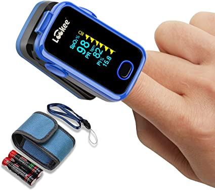 LOOKEE Premium Fingertip Pulse Oximeter Blood Oxygen Saturation Monitor with Alarm and Plethysmograph and Perfusion Index | Finger SpO2 Tracker | 2-Color OLED Display | Carry Case, Batteries Included