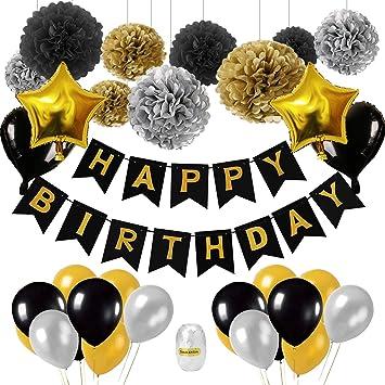 Decoración de cumpleaños en negro y dorado, 18ª. Decoración ...
