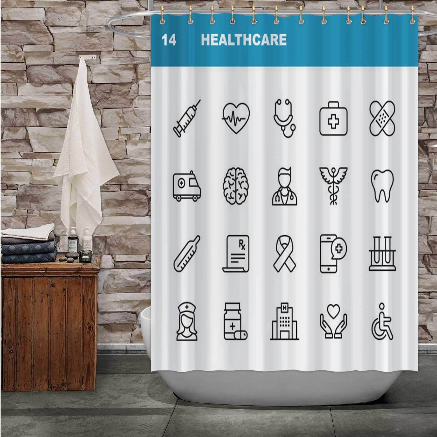 Tstyrea Healthcare and Medicine Line Icons.Editable Stroke.Pixel Perfect.for Mobile Web.Contains Such Icons as Healthcare,Shower Curtain Nurse Bathroom Decor Set with Hooks 84X72in