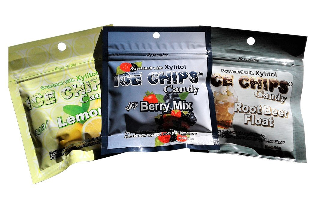 New! Ice Chips Candy in Resealable Packets, 3 Pk Variety: Lemon, Berry & Root Beer by ICE CHIPS