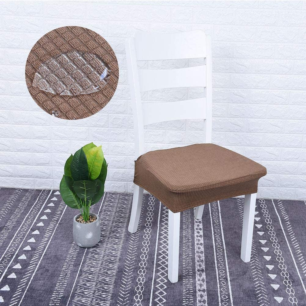 4Pcs Chair Cover Elastic Jacquard Waterproof Washable Removable Protective Dining Seat Cushion for Kitchen(Creamy White) Coffee