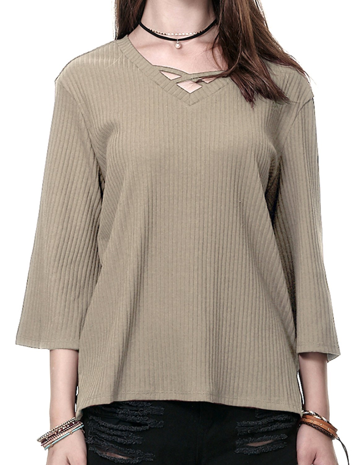 Regna X Boho for Woman's Feminine Swing Daily Beige Ivory Brown 3XL Plus Maternity 3/4 Bell Sleeve Criss Cross Ribbed Blouses Knit Shirts