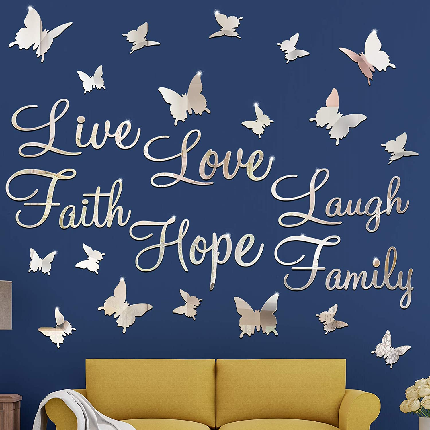 3D Acrylic Mirror Wall Decor Stickers DIY Silver Faith Live Laugh Hope Love Family Butterfly Removable Mural Stickers for Home Office School Teen Dorm Room Mirror Wall Decoration Decal