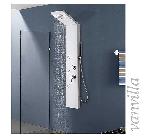 Duschpaneel Thermostat MEDINO Duscharmatur Alu Brausepaneel Duschsäule Dusch-Set