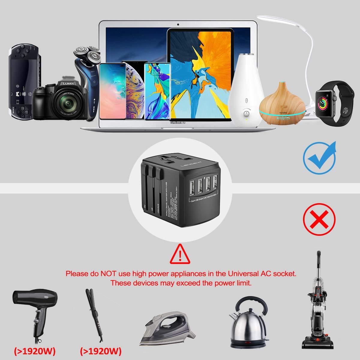 C/ámara y m/ás LENCENT Adaptador Enchufe De Viaje Universal Tabletas Cargador de Pared USB Internacional de 4 Puertos para EEUU//UK//EU//AUS M/ás de 200 Pa/íses para Tel/éfonos