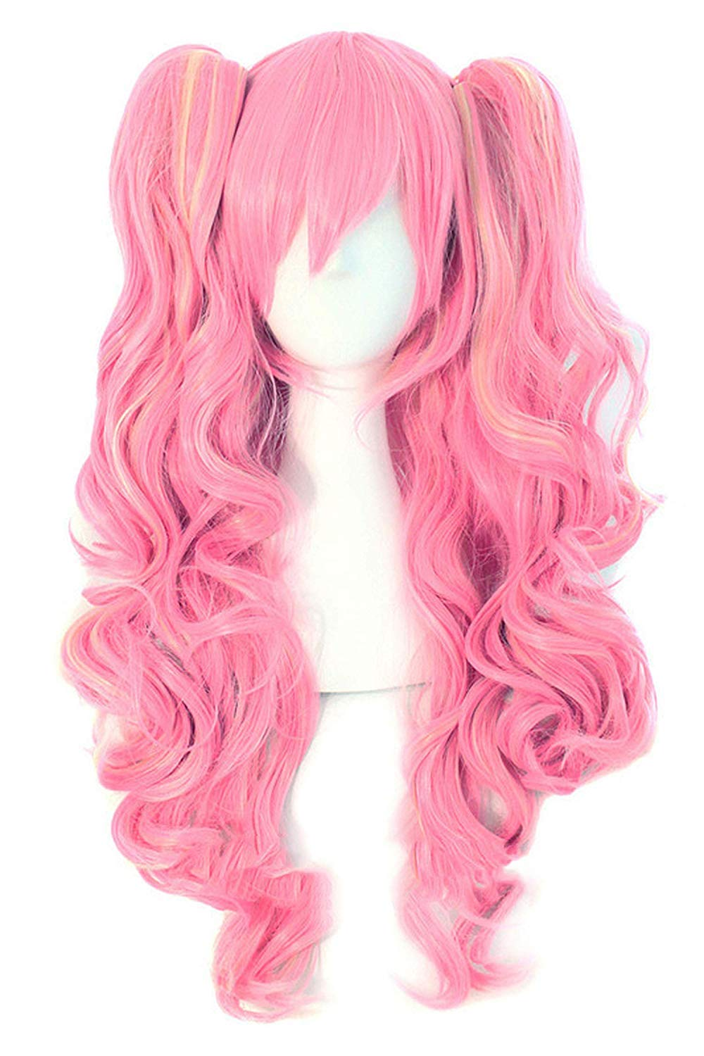 CCVGZ TSHIRT Long Wavy Cosplay Purple Pink 12 Colors Two ponytails Heat Resistant Wigs for Women,#144,26inches
